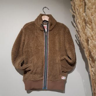 AO76 VESTE MOCK NECK FULL ZIP TEDDY BROWN vetements garcons