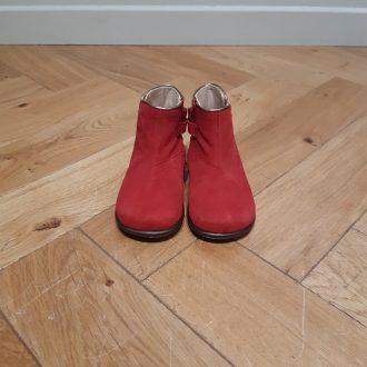 BEBERLIS BOTTINE premier pas cuir nubuck rouge