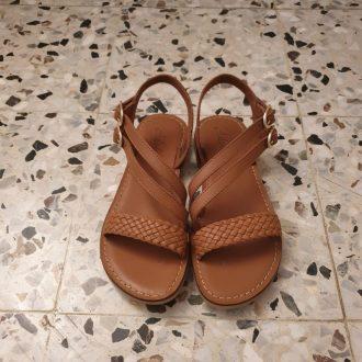 Adolie lazar megh camel cuir tressé sandale fille