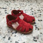 POM D'API POPPY daddy velours rouge sandale garçon