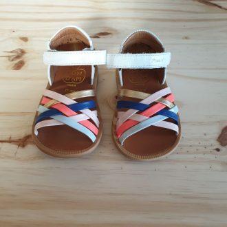POM D'API POPPY lux blanc multi sandale fille premiers pas
