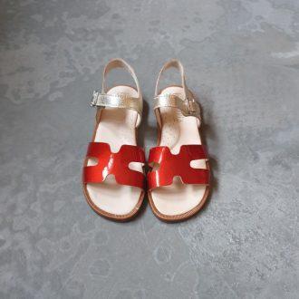 BEBERLIS sandale fille or et rouge
