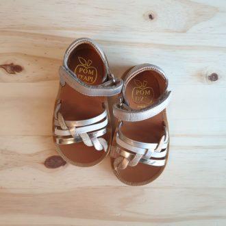 POM D'API POPPY tresse glitter platine ice sandale premiers pas