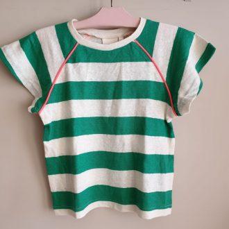 AO76 T.Shirt fille rayé vert