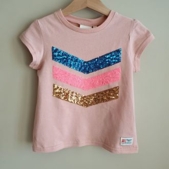 AO76 T.Shirt fille rose pailleté