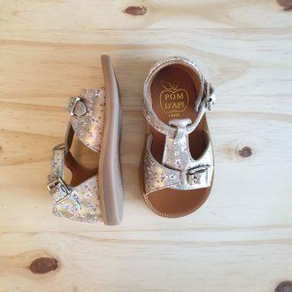 POM D'API POPPY buckle fleurette platine sandale fille premiers pas