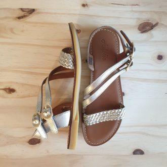 Adolie lazar megh platine cuir tressé sandale fille