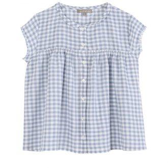 Emile et Ida Q027B blouse peter pan vichy bleu