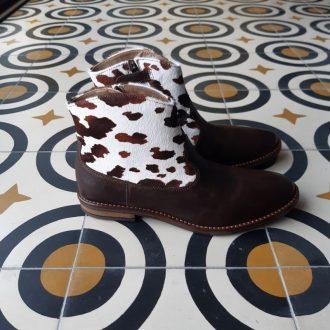POM D'API bottine billy boots choco blanc