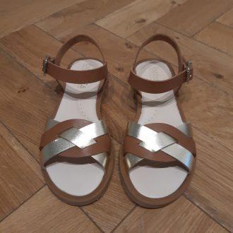 BEBERLIS sandale fille 21917 cuir camel et or